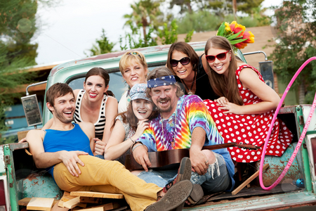 Groovy Group in the Back of Truck stock photo, Groovy Group in the Back of Truck Laughing by Scott Griessel