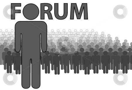 Internet FORUM Admin and people who post read stock vector clipart, Internet FORUM Admin and the audience people who post and read threads on the forum. by Michael Brown