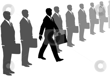 Business initiative man steps out of gray suits line stock vector clipart, A take charge business man with initiative and a briefcase steps out of a line of gray suits. by Michael Brown
