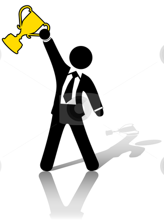 Businessman Raises Fist to Celebrate Business Growth Success stock vector clipart, A business man symbol raises a trophy as an award in celebration of success. by Michael Brown