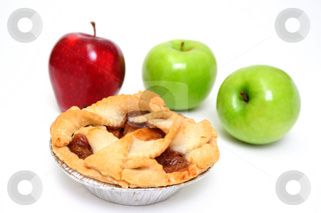 Apple Pie For One stock photo, Apple pie for one on a white background with 2 green granny smith and one red apple by Lynn Bendickson