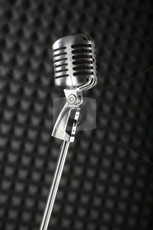 Microphone stock photo, Microphone on grey background. by Robert Narkus