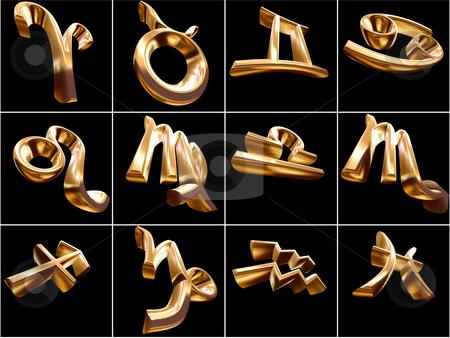 3D Zodiac Sign stock photo, 3D Zodiac signs on black background by Adam Radosavljevic