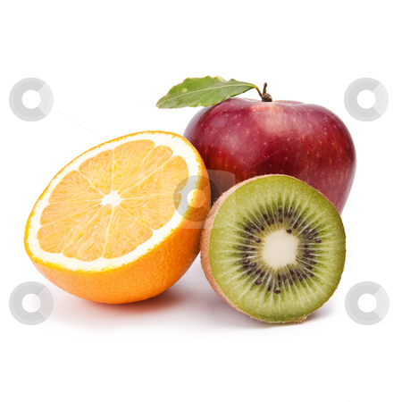Fruits stock photo, Apple, Orange, Kiwi - Fruit On White Background by Adam Radosavljevic