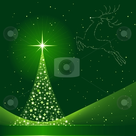 Green abstract Christmas background with Christmas tree and reindeer stock vector clipart, Square green background for Christmas showing a Christmas tree made of stars and the silhouette of a reindeer in the sky. 6 Global colors, blends. Artwork grouped and layered. by Ina Wendrock