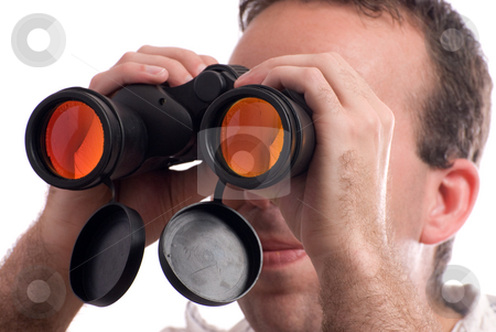 Spy stock photo, Closeup view of a man spying with a set of binoculars, isolated against a white background by Richard Nelson
