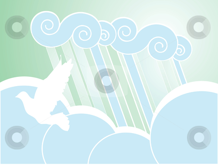 Soft Peace Rain Background stock vector clipart, Softly colored desktop background of rain, clouds and dove. by Jeffrey Thompson