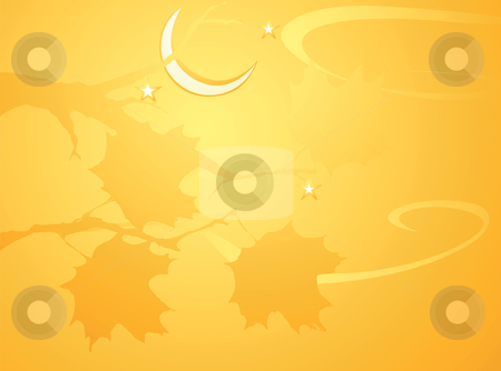Halloween Tree Background stock vector clipart, Softly orange colored desktop background, halloween themed with leaves. by Jeffrey Thompson