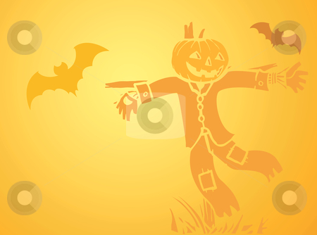 Halloween Scarecrow and Bat Background  stock vector clipart, Softly orange colored desktop background, halloween themed with bats and a scarecrow. by Jeffrey Thompson