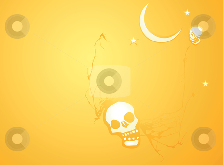 Halloween Skull Background stock vector clipart, Softly orange colored desktop background, halloween themed with skulls. by Jeffrey Thompson