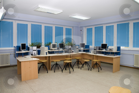 Computer Classroom stock photo, Computer classroom,with a series of tables in which are computers. by Adam Radosavljevic