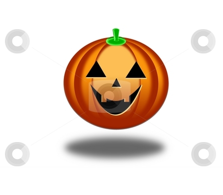 Halloween Pumkin WB stock photo, Smiling orange Halloween pumkin on white background by Henrik Lehnerer