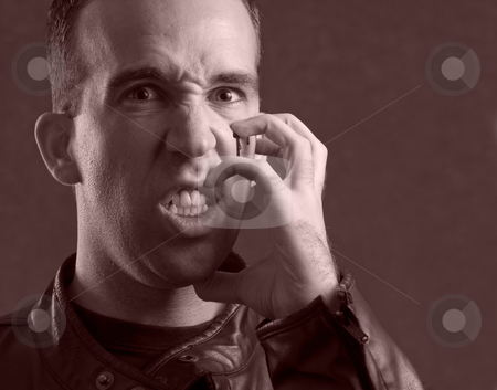 Scratching Face stock photo, Black and white image of a man scratching his face with his fingers and drawing blood by Richard Nelson