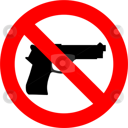 No Guns stock vector clipart, Guns forbidden sign isolated over white background by Andre Janssen