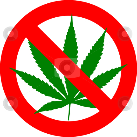 Cannabis stock vector clipart, No cannabis sign isolated over white background by Andre Janssen