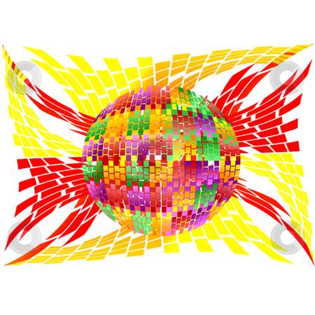 Multiplex stock vector clipart, Color globe with bands of fire by Ira J Lyles Jr