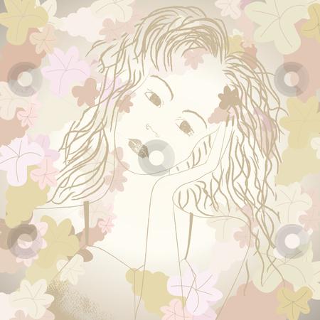 Monotone grape portrait stock vector clipart, Monotone grape portrait of a young female by Karin Claus