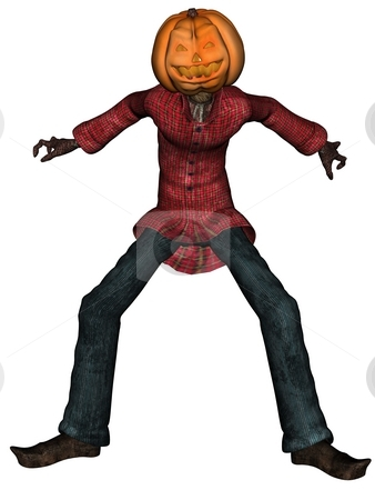 Helloween man with pumpkin head stock photo, 3D rendered Helloween man with pumpkin head isolated on white background by Patrik Ruzic