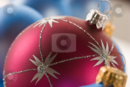 Christmas ball stock photo, Holiday series: red and blue christms ball by Gennady Kravetsky