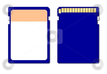 Memory Chip stock photo, Blue memory chip front and back view on white background by Henrik Lehnerer