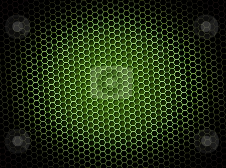 Honeycomb Background Green stock photo, Green honeycomb background 3d illustration or backdrop with light effect by Henrik Lehnerer