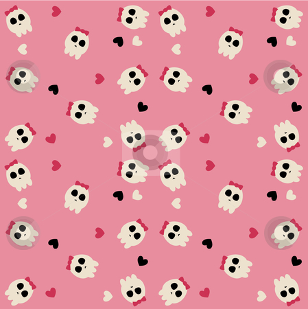 Cute pink sculls stock vector clipart, A pink pattern of cute sculls with bow and hearts by Susanne Krogh-hansen