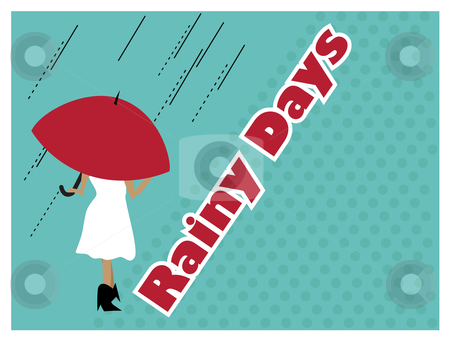 Rainy days stock vector clipart, A retro style card design of woman with umbrella in the rain by Susanne Krogh-hansen