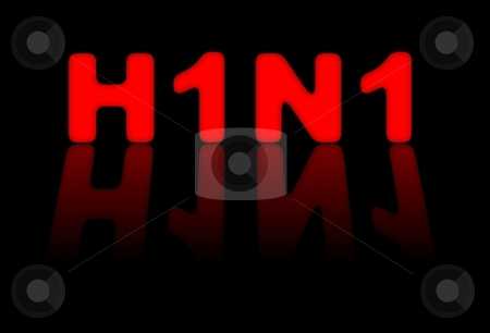H1N1 Sign stock photo, Red sign for H1N1 or swine flu on black background by Henrik Lehnerer