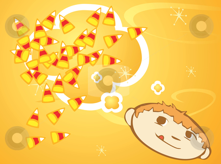 Dreaming of Candy Corn stock vector clipart, Retro styled boy dreams of halloween candy corn. by Jeffrey Thompson