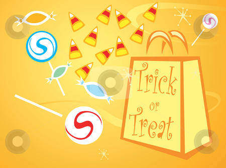 Trick or Treat Bag stock vector clipart, Halloween trick or treat bag with different candies. by Jeffrey Thompson