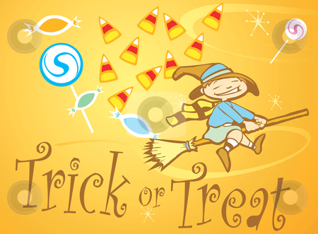 Trick or Treat Witch stock vector clipart, Halloween witch flies through an assortment of trick or treat candy. by Jeffrey Thompson