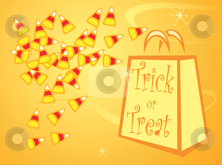Halloween candy corn stock vector clipart, Halloween Trick or Treat bag with pile of candy corn. by Jeffrey Thompson