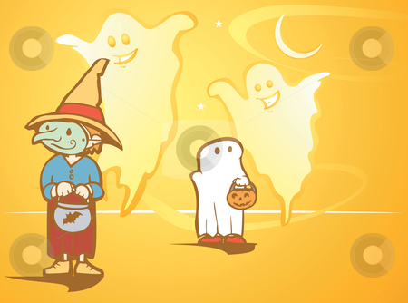 Witch and Ghosts stock vector clipart, Halloween witch and ghost kids followed by real ghosts. by Jeffrey Thompson