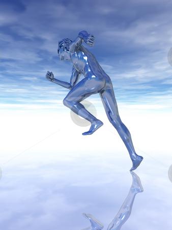 Go! stock photo, Sculpture man runs under cloudy blue sky - 3d illustration by J?