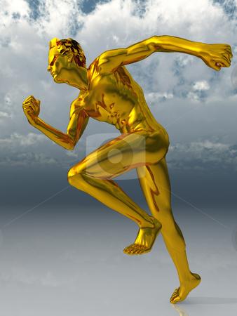 Run stock photo, Gold sculpture man runs under cloudy blue sky - 3d illustration by J?