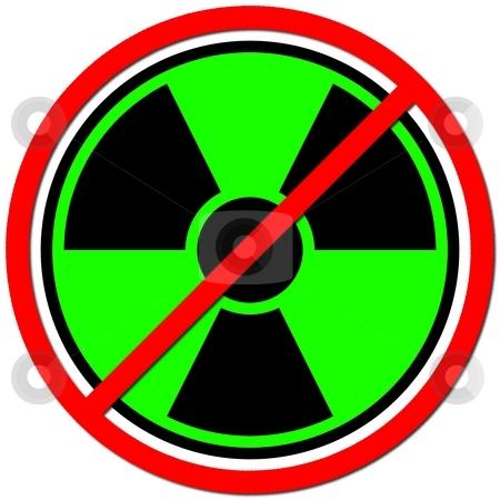 Against Atom stock photo, Green sign against radiation on white background. by Henrik Lehnerer