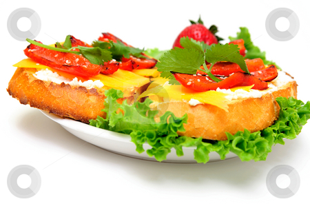 Cheese And Pepper Sandwich stock photo, Toasted sliced sourdough bread topped with Ricotta and sharp cheddar cheese and roasted red bell pepper with a sprig of cilantro served on a bed of green lettuce and white saucer by Lynn Bendickson