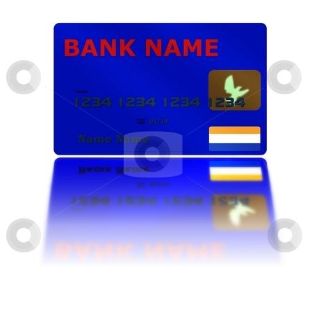 Blue Credit Card Reflection stock photo, Blue Credit Card with reflection on white background by Henrik Lehnerer