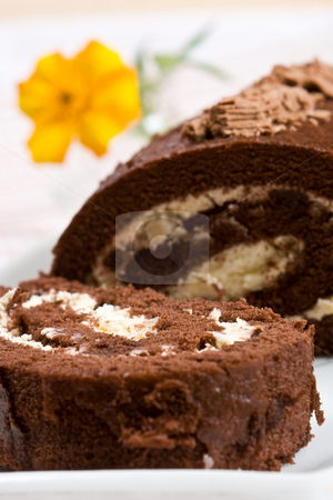 Sliced chocolate roll with a fresh flower stock photo, Sliced chocolate roll with a fresh flower on a white plate by Robert Anthony