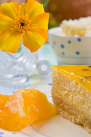 Cheesecake with fresh orange slices stock photo, Cheesecake with fresh orange slices on a plate by Robert Anthony