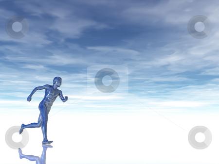 Jogger stock photo, Sculpture man runs under cloudy blue sky - 3d illustration by J?