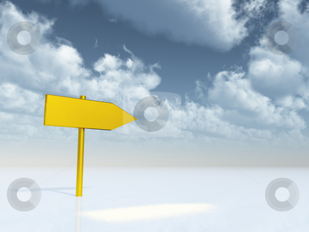 This way stock photo, Blank golden pointer under cloudy sky - 3d illustration by J?