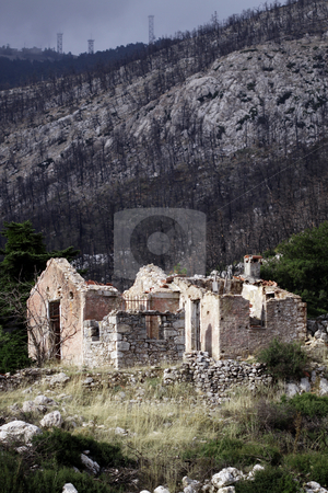 House in forest fire stock photo,  by Stefanos Kyriazis