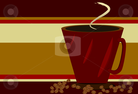 Red Coffee cup and coffee beans on Gold stock vector clipart, Red Coffee cup and coffee beans on red and gold striped background by x7vector
