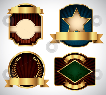 Vector Labels stock vector clipart, Set of various gold vector labels for your text by Thomas Amby Johansen
