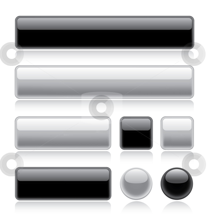 Glossy Web Buttons stock vector clipart, Set of various glossy web buttons in black and white by Thomas Amby Johansen