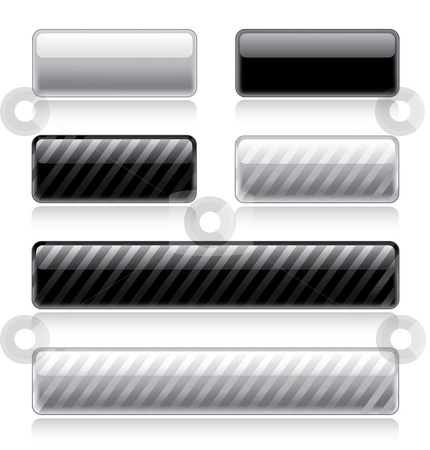Glossy Web Buttons stock vector clipart, Set of various glossy and striped web buttons in black and white by Thomas Amby Johansen