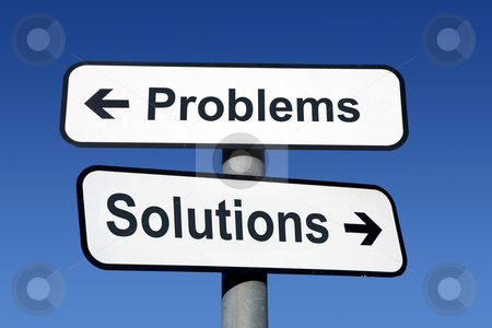 Signpost pointing to problems and solutions. stock photo, Signpost pointing to problems and solutions. by Stephen Rees
