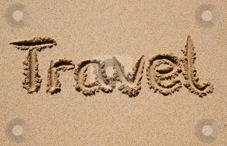 Travel written on a sandy beach. stock photo, Travel written on a sandy beach. by Stephen Rees
