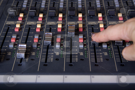 Faders at mixing pult stock photo, Pro mixing pult at a recording studio by Daniel Kafer